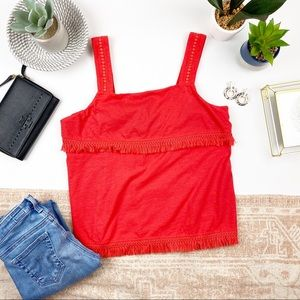 J. CREW Red Fringe Tank Top Medium